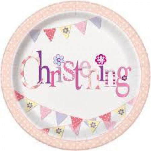 Pink Bunting Christening Paper Plates - 52035 - The Party Place - UK party shop - party supplies  sc 1 st  party supplies & Pink Bunting Christening Paper Plates - 52035 - The Party Place - UK ...