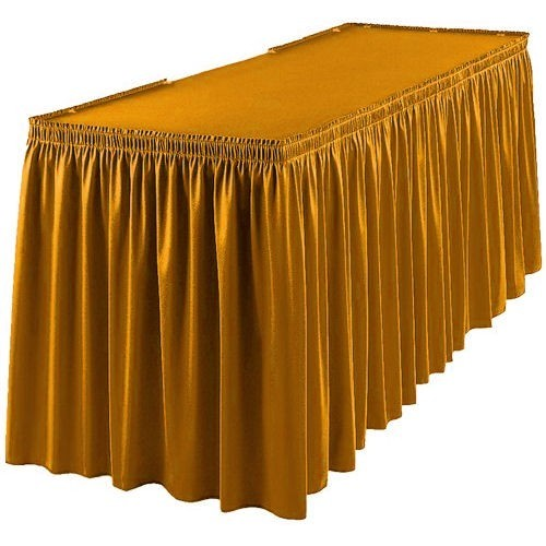 Gold plastic table skirt the party place uk party shop for Table skirting