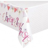 Pink Bunting Christening Tablecover - 52033
