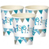 Blue Bunting Christening Party Cups 52056