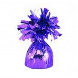 6 X Helium Balloon Weights- Purple Foil Tassle Cone