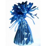 12 X Helium Balloon Weights- Lt.blue Foil Tassle Cone