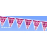 60 60th Birthday Flag / Pennant Banner Pink Glitz