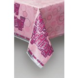 Pink Glitz Tablecover Plastic - Happy Birthday
