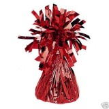 12 X Helium Balloon Weights- Red Foil Tassle Cone