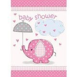 Pink Umbrellaphants Baby Shower Invitations Pack of 8