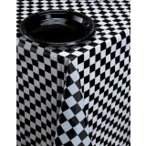 BLACK & WHITE CHECK PLASTIC TABLECOVER