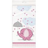 Pink Umbrellaphants Baby Shower Tablecover 137 x 213cm