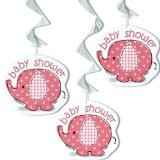 Pink Umbrellaphants Baby Shower Hanging Decorations Pack of 3