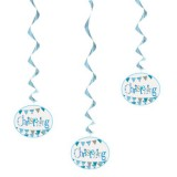 Hanging Blue Bunting Christening Decorations, Pack of 3