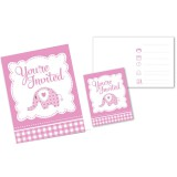 Sweet Baby Elephant-Pink - Invitations