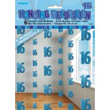 Blue Glitz Strings, 16th, pack of 6 decorations