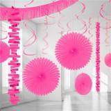 Bright Pink Backdrop / Room Decorating Kit, 18 pieces