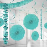 Caribbean Blue Backdrop / Room Decorating Kit 18 pieces