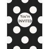 Black Polka Dots - Invitations