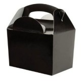 BLACK PACK OF 10 Party Boxes/ Treat Boxes/ Food Boxes (15cm x 10cm x 10cm)