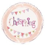 "18"" Foil Pink Bunting Christening Balloon 52047"