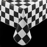 Plastic Black and White Check Tablecover - 39197