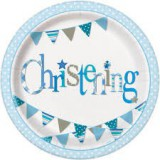 Blue Bunting Christening Paper Plates - 52055