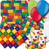 Block Party,  party pack for 16 [ LEGO inspired party theme ]