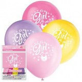 PINK Clothesline Baby Shower Latex Balloons, pack of 8