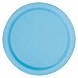 "Blue plates, 9"", round, pack of 16, BABY BLUE,  32650"
