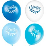 "12"" Latex Blue Bunting Christening Balloons, Pack of 8"