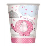 Pink Umbrellaphants Baby Shower Cups Pack of 8 9oz/270ml